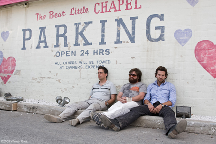 "(L-r) ED HELMS as Stu, ZACH GALIFIANAKIS as Alan and BRADLEY COOPER as Phil in Warner Bros. Pictures' and Legendary Pictures comedy ""The Hangover,"" distributed by Warner Bros. Pictures. PHOTOGRAPHS TO BE USED SOLELY FOR ADVERTISING, PROMOTION, PUBLICITY OR REVIEWS OF THIS SPECIFIC MOTION PICTURE AND TO REMAIN THE PROPERTY OF THE STUDIO. NOT FOR SALE OR REDISTRIBUTION."