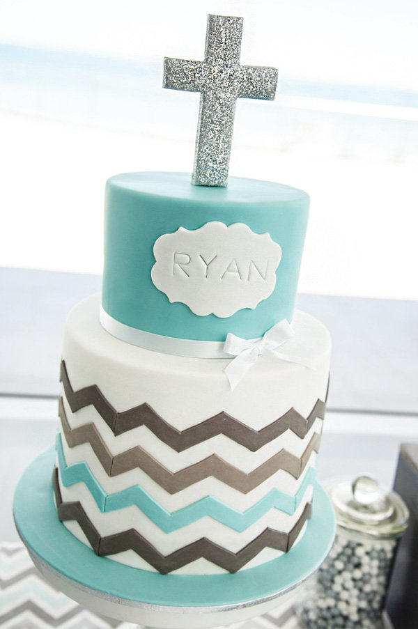 chevron-christening-cake