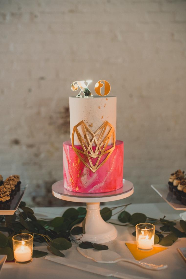 Hot+pink+art+inspired+wedding+cake