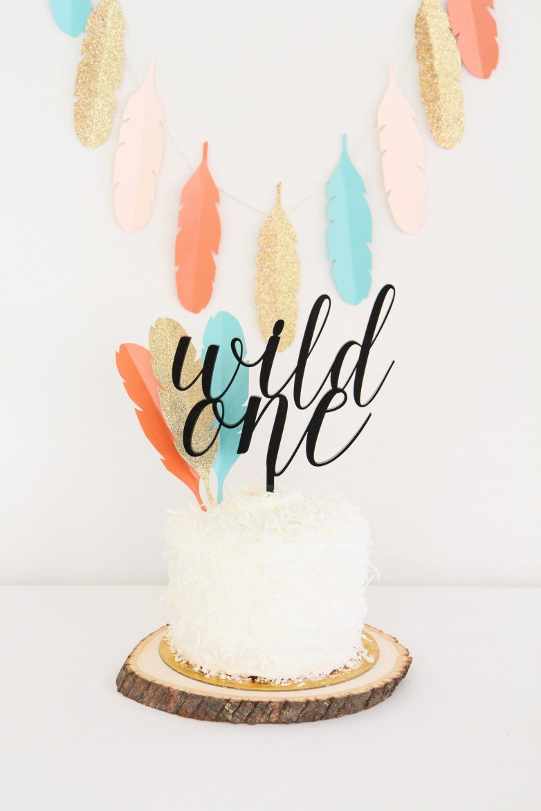 tribal-wild-one-custom-cake-topper-diy-feathers-first-birthday-party-gold-glitter-aqua-turquoise-blue-orange-peach-black-sweet-paper-shop_2048x2048